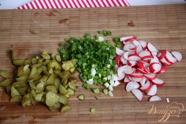 Фото приготовление рецепта: Немецкий картофельный салат с редисом и маринованными огурчиками шаг №2