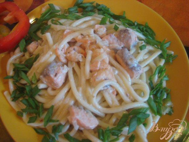 Рецепт Паста с семгой и креветками