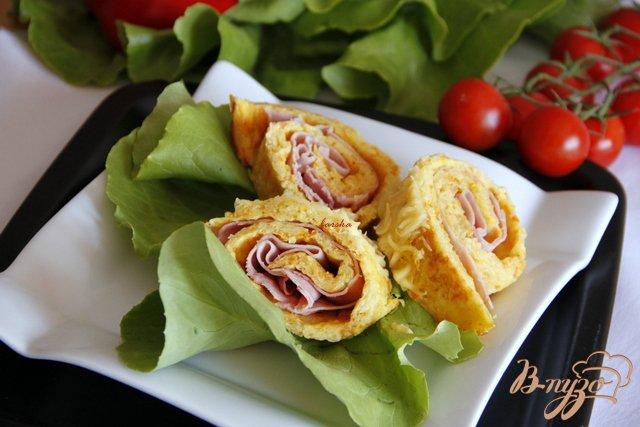 Фото приготовление рецепта: Овощные рулетики с ветчиной шаг №6