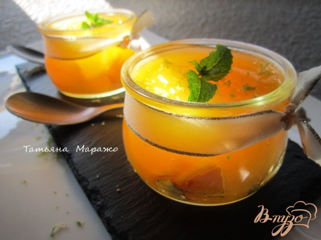 Рецепт Апельсиновый десерт с персиками