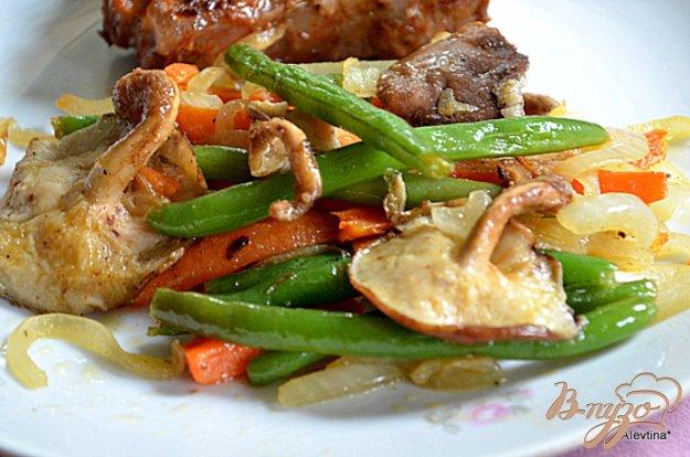 Рецепт Зеленая фасоль с грибами и морковью