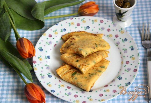 Рецепт Творожные блинчики с зеленью и вялеными томатами