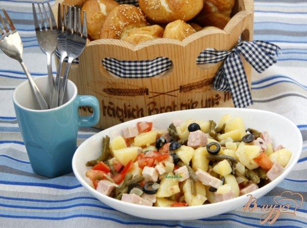 Рецепт Картофельный салат с зелёной фасолью, маслинами и помидорами