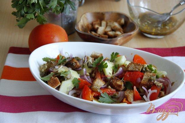 """Рецепт Итальянский салат """"Панацелла"""" с печёным перцем и заправкой из соевого соуса и каперсов"""