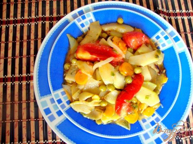 Рецепт Кабачки тушёные с горошком