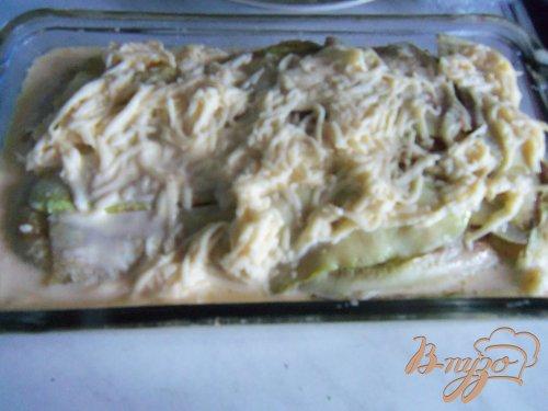 Запеканка из кабачков с фаршем под сливочным соусом