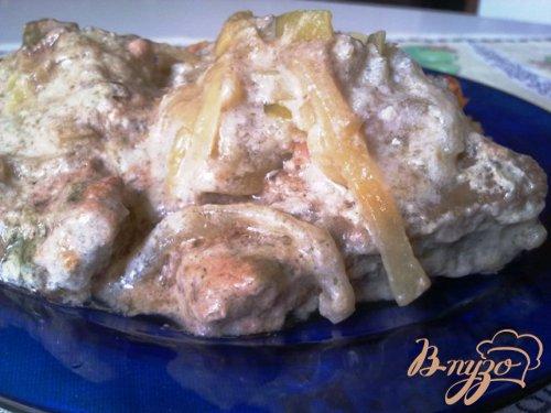 Говяжья печень с луковым соусом