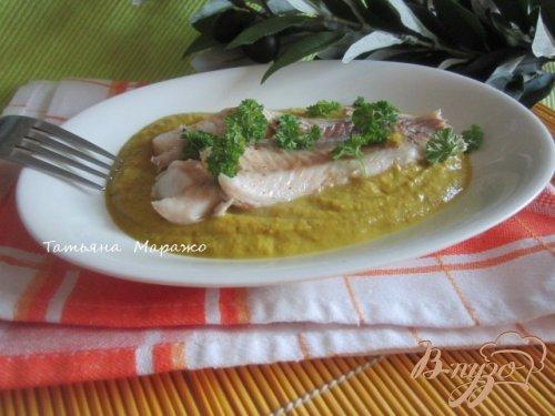 Филе скумбрии с овощным пюре