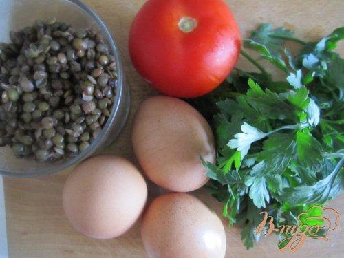 Омлет-болтанка с чечевицей и томатом
