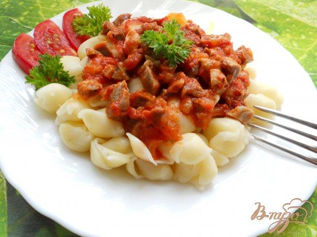 Рецепт Паста с соусом из куриных желудочков