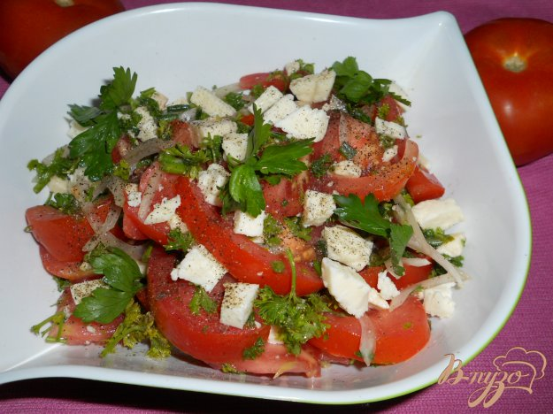 Рецепт Салат из помидоров и брынзы
