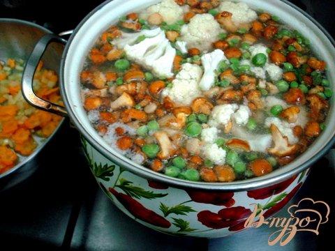 Суп с лисичками и горошком