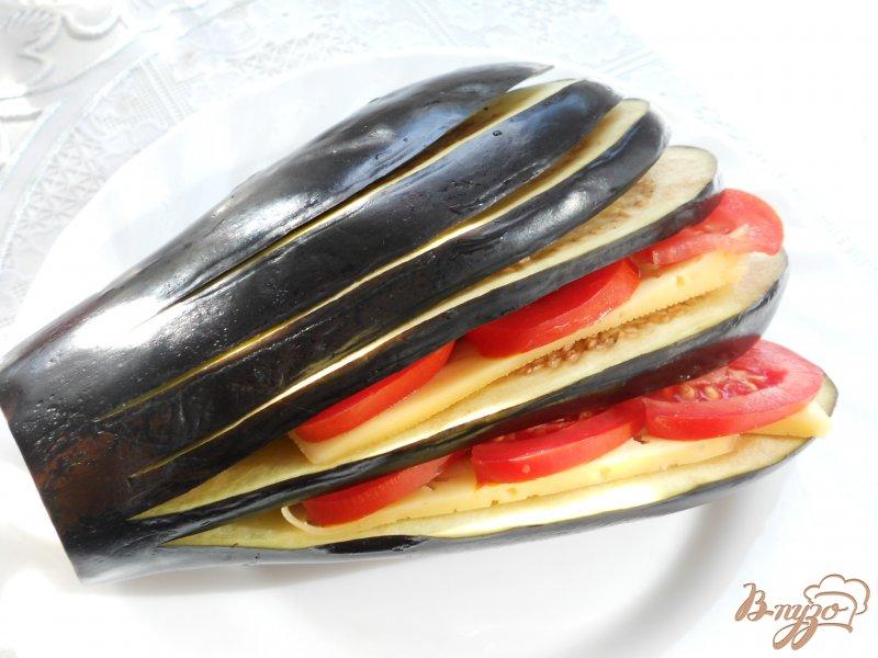 Фото приготовление рецепта: Баклажаны, фаршированные помидорами и сыром шаг №2