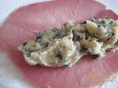 Ветчинные рулетики с картофельной начинкой и козьим сыром