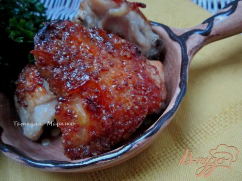 Куриные бедрышки с горчично-апельсиновой глазурью