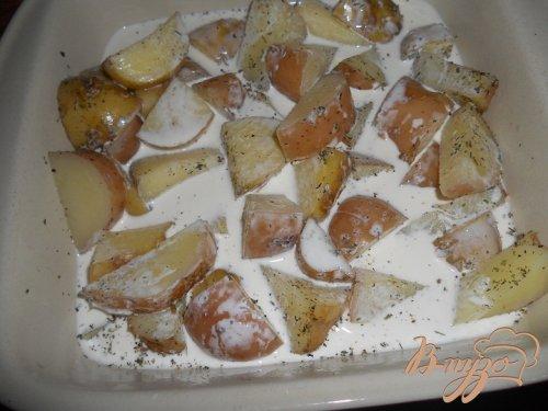 Запеченный картофель в сливках с домашней курицей