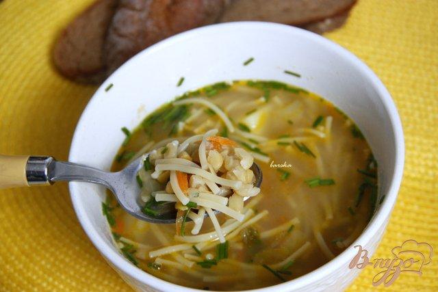 Фото приготовление рецепта: Постный гороховый суп с вермишелью шаг №6
