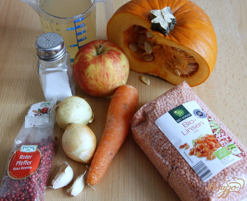 Фото приготовление рецепта: Суп пюре из тыквы и красной чечевицы шаг №1