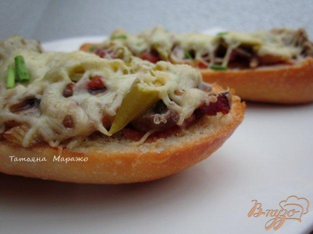 Рецепт Горячий бутерброд с ветчиной и грибами