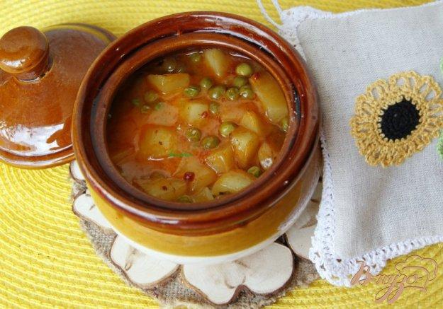 Рецепт Сливочный горшочек с курицей картофелем и горошком