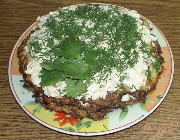 Рецепт Кабачковый торт с начинкой из крабовых палочек