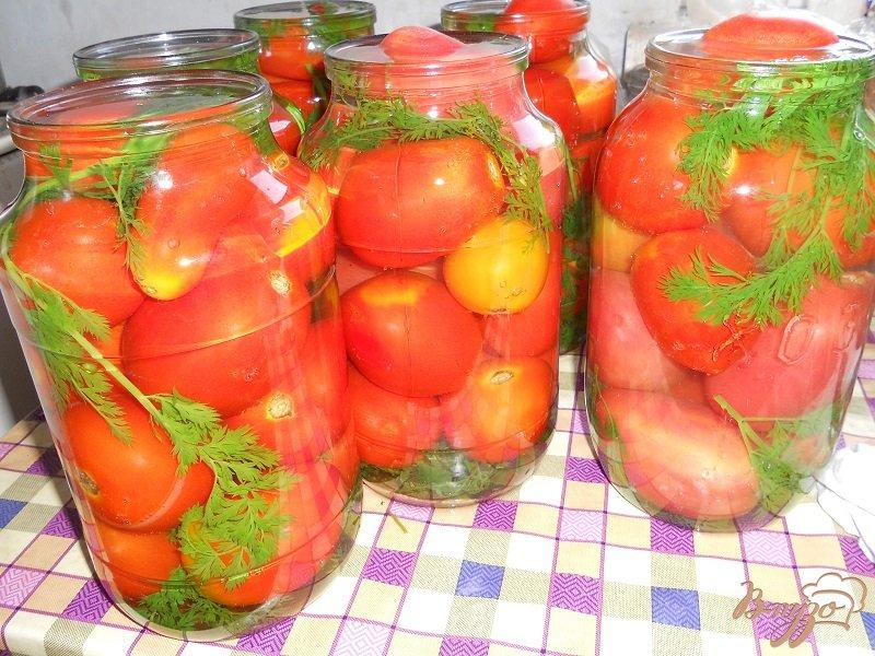Фото приготовление рецепта: Помидоры с морковной ботвой на зиму шаг №3