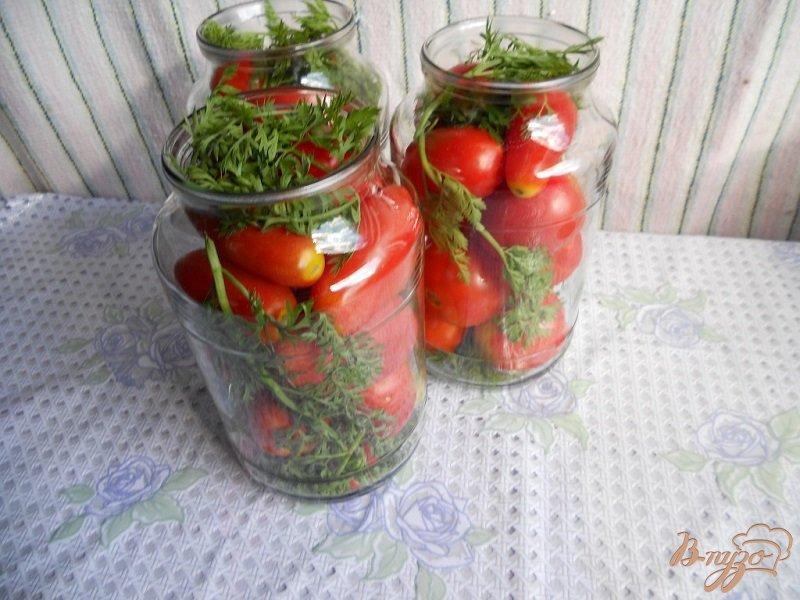 Фото приготовление рецепта: Помидоры с морковной ботвой на зиму шаг №2