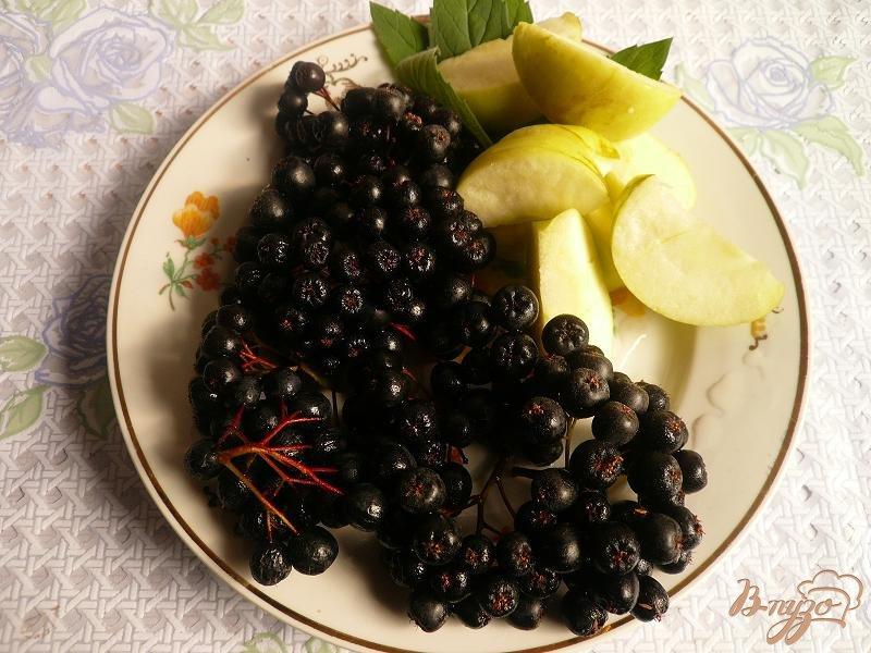 Фото приготовление рецепта: Компот из черноплодной рябины с яблоком и мятой шаг №2
