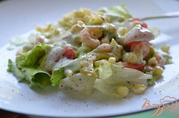 Рецепт Салат с креветками и кукурузой