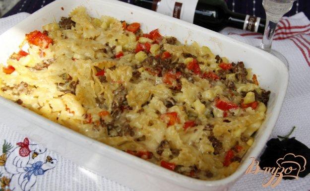 Рецепт Гратин из фарша, фарфалле и овощей