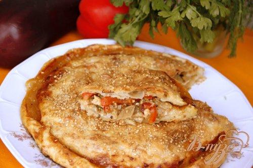 Пирог с карамелизированными баклажанами