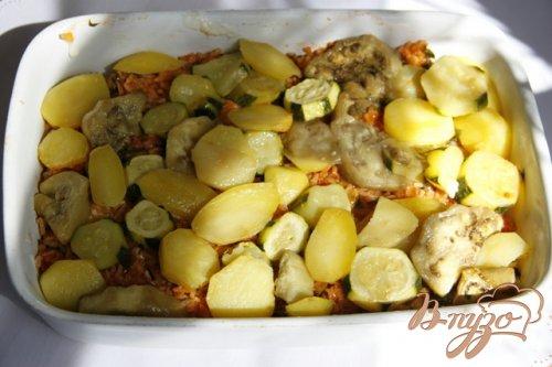 Мусака с овощами и рисом