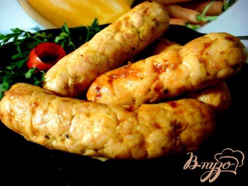 Домашняя куриная колбаса с ветчиной