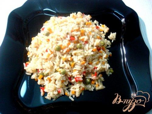 Рис с перцем и горошком