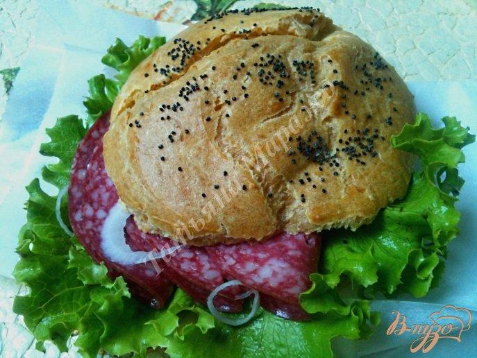 Фото приготовление рецепта: Сендвич с булочкой из заварного теста шаг №6