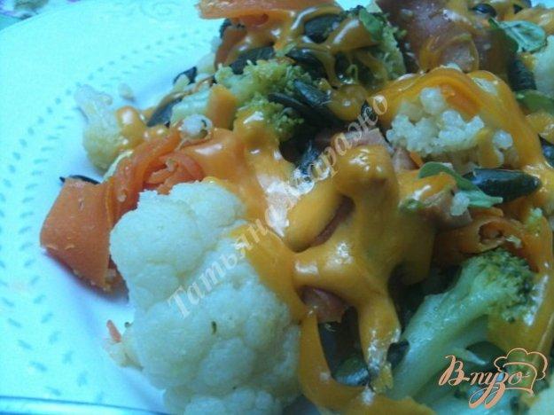 Рецепт Теплый овощной салат с копчеными сосисками