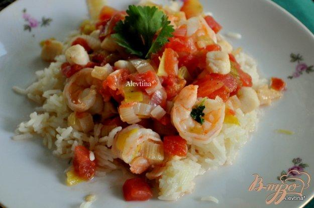 Рецепт Тушеные морские гребешки с креветками