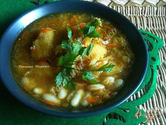 Фото приготовление рецепта: Суп из савойской капусты с белой фасолью шаг №8