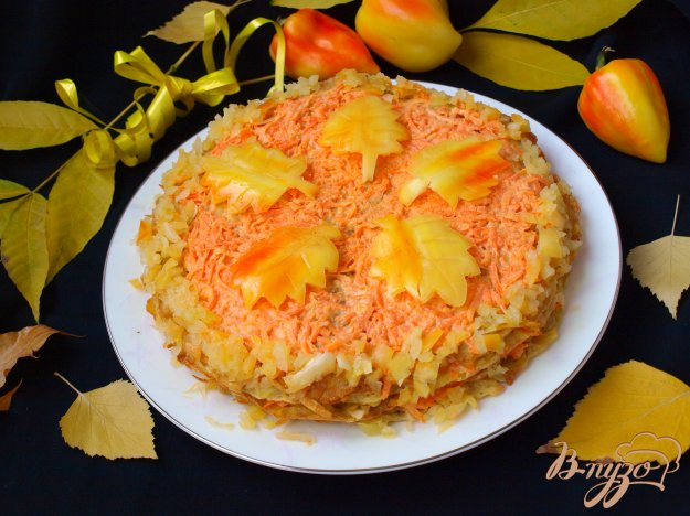 Рецепт Картофельный торт с морковно-сырной прослойкой
