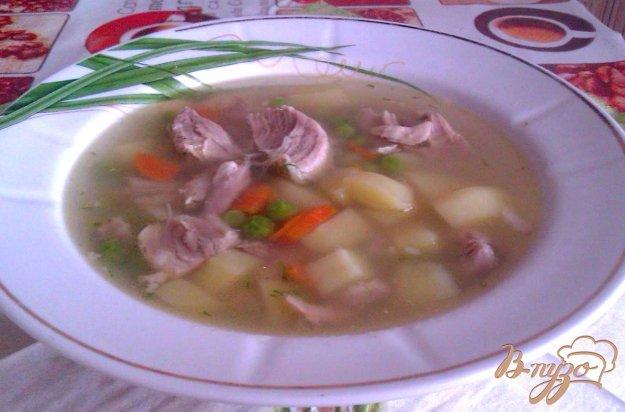 фото рецепта: Картофельный суп со свининой и зеленым горошком
