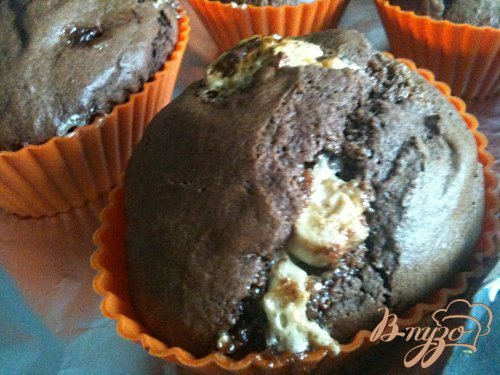 Шоколадные кексики с нугой