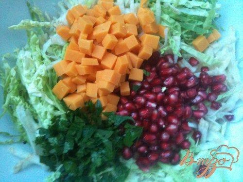 Салат из савойской капусты с зернами граната