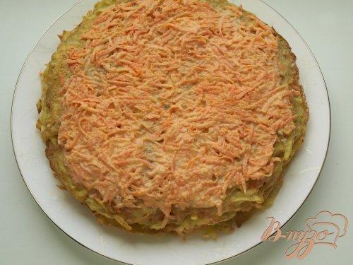 Картофельный торт с морковно-сырной прослойкой