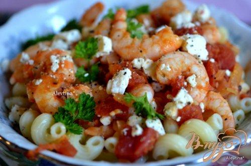 Паста с креветками, томатами и сыром  Фета