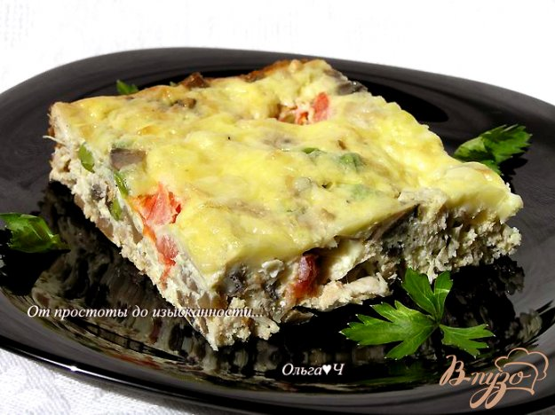 Рецепт Фриттата с курицей, грибами и зеленым горошком