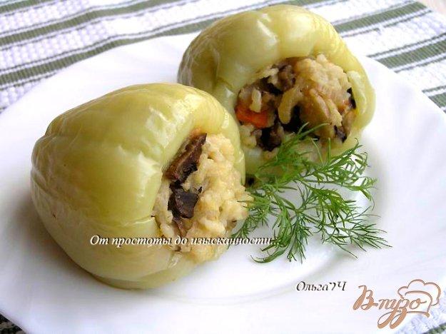 Рецепт Перец, фаршированный рисом и грибами на пару