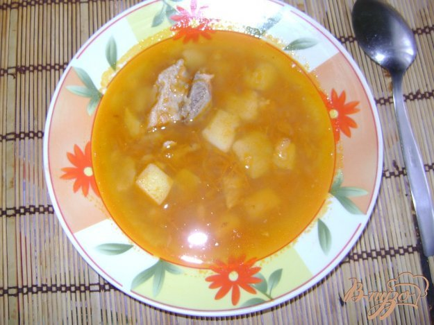 фото рецепта: Гороховый суп со свиными ребрышками