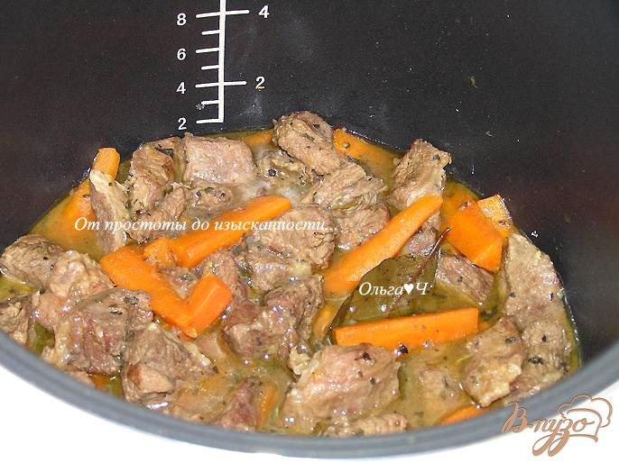 Фото приготовление рецепта: Рагу из говядины с морковью и мятой (в мультиварке) шаг №5