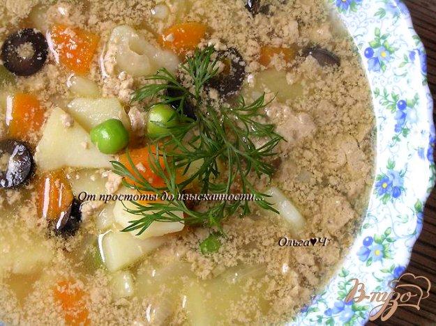 фото рецепта: Суп с печенью минтая, мартини и маслинами