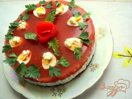 Закусочный  сырно-томатный торт
